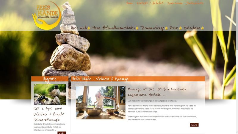 Screenshot der Webseite www.heilmassage-baden.at