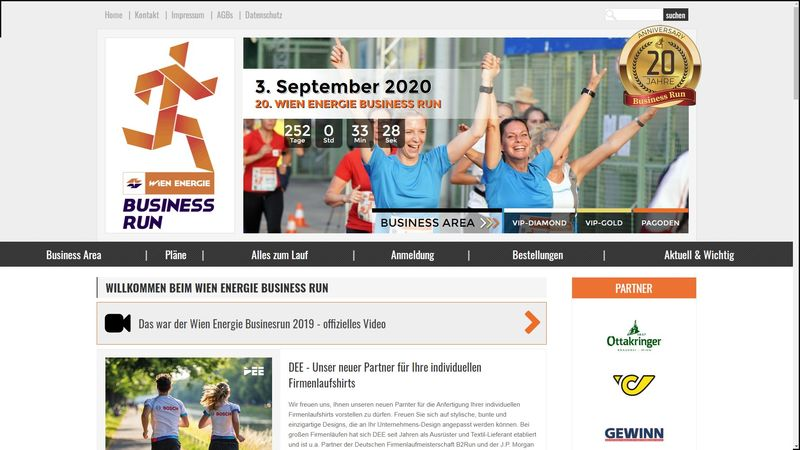 Screenshot der Webseite www.businessrun.at