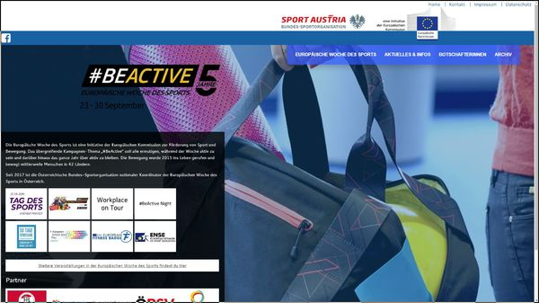 Screenshot der Webseite www.beactive-austria.at