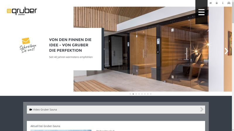 Screenshot der Webseite www.gruber-sauna.at