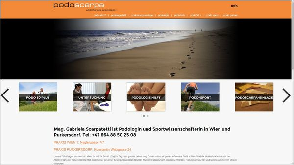Screenshot der Webseite www.podologie-scarpatetti.at