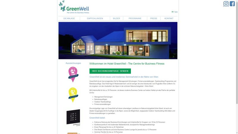 Screenshot der Webseite www.greenwell.at
