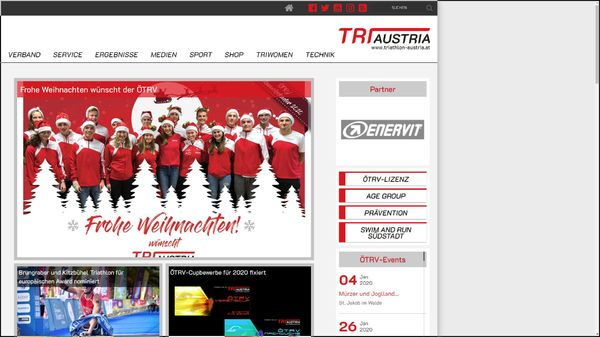 Screenshot der Webseite www.triathlon-austria.at