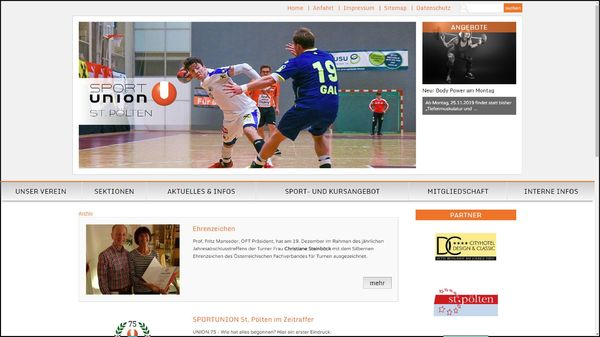 Screenshot der Webseite www.union-stpoelten.at