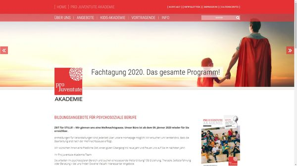 Screenshot der Webseite www.projuventute-akademie.at
