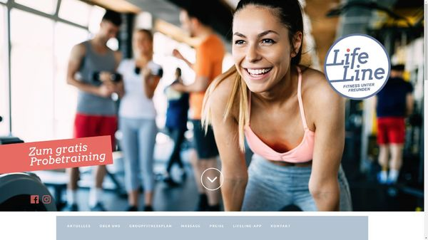 Screenshot der Webseite www.fitness-lifeline.at