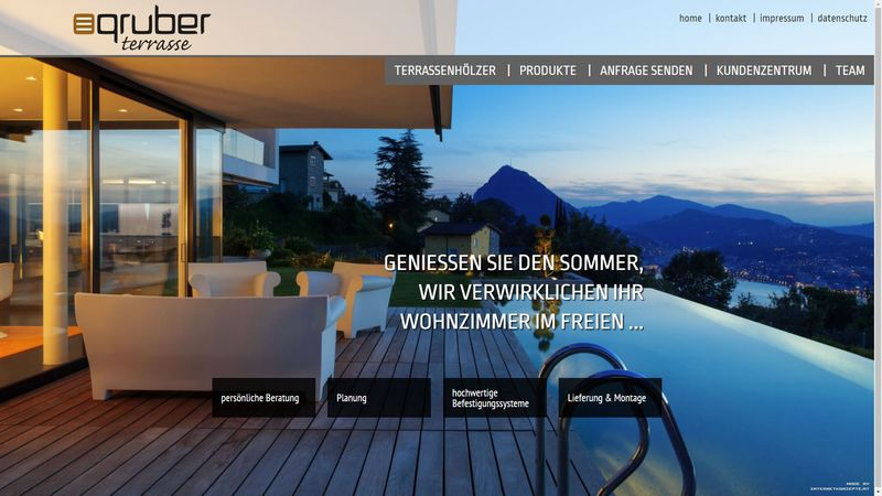 Screenshot der Webseite www.gruber-terrasse.at