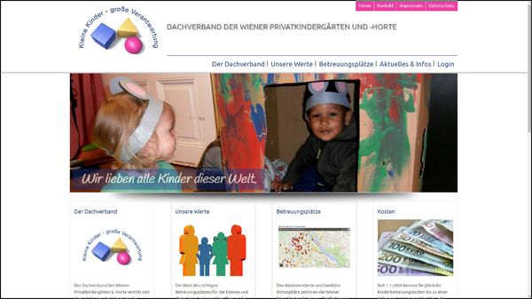 Screenshot der Webseite www.kindergarten.at