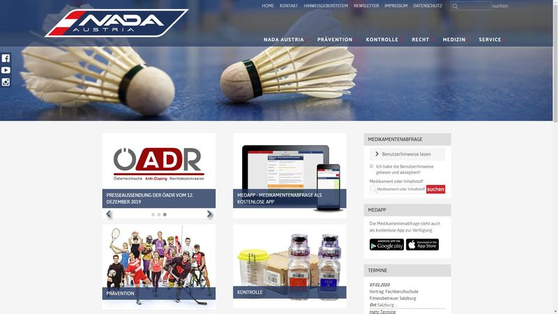 Screenshot der Webseite www.nada.at
